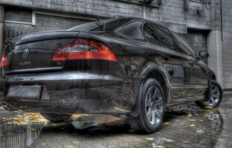 Photo wallpaper reflection, HDR, Auto, Skoda, Superb