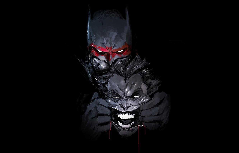 Photo wallpaper Batman, Joker, bat, hero, DC Comics, yuusha