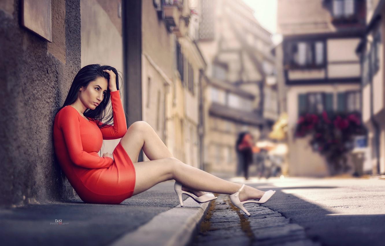Wallpaper girl, the city, street, dress