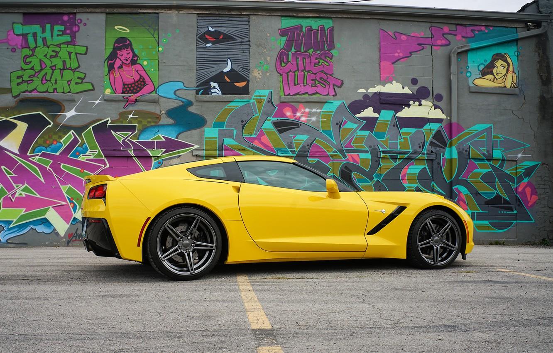 Photo wallpaper yellow, design, graffiti, Corvette Chevrolet