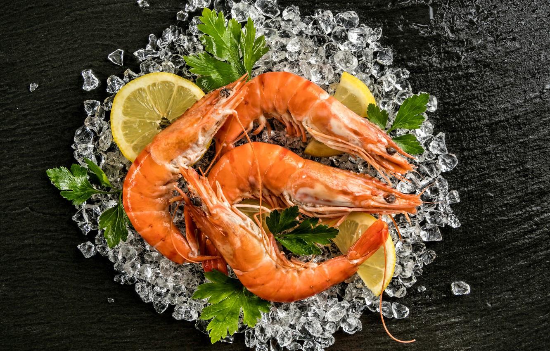 Photo wallpaper ice, greens, lemon, shrimp, seafood, Seafoods, Shrimp, Lemons