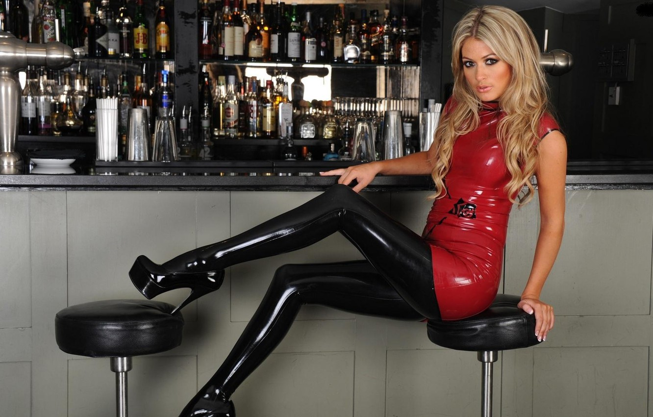 Blonde in latex