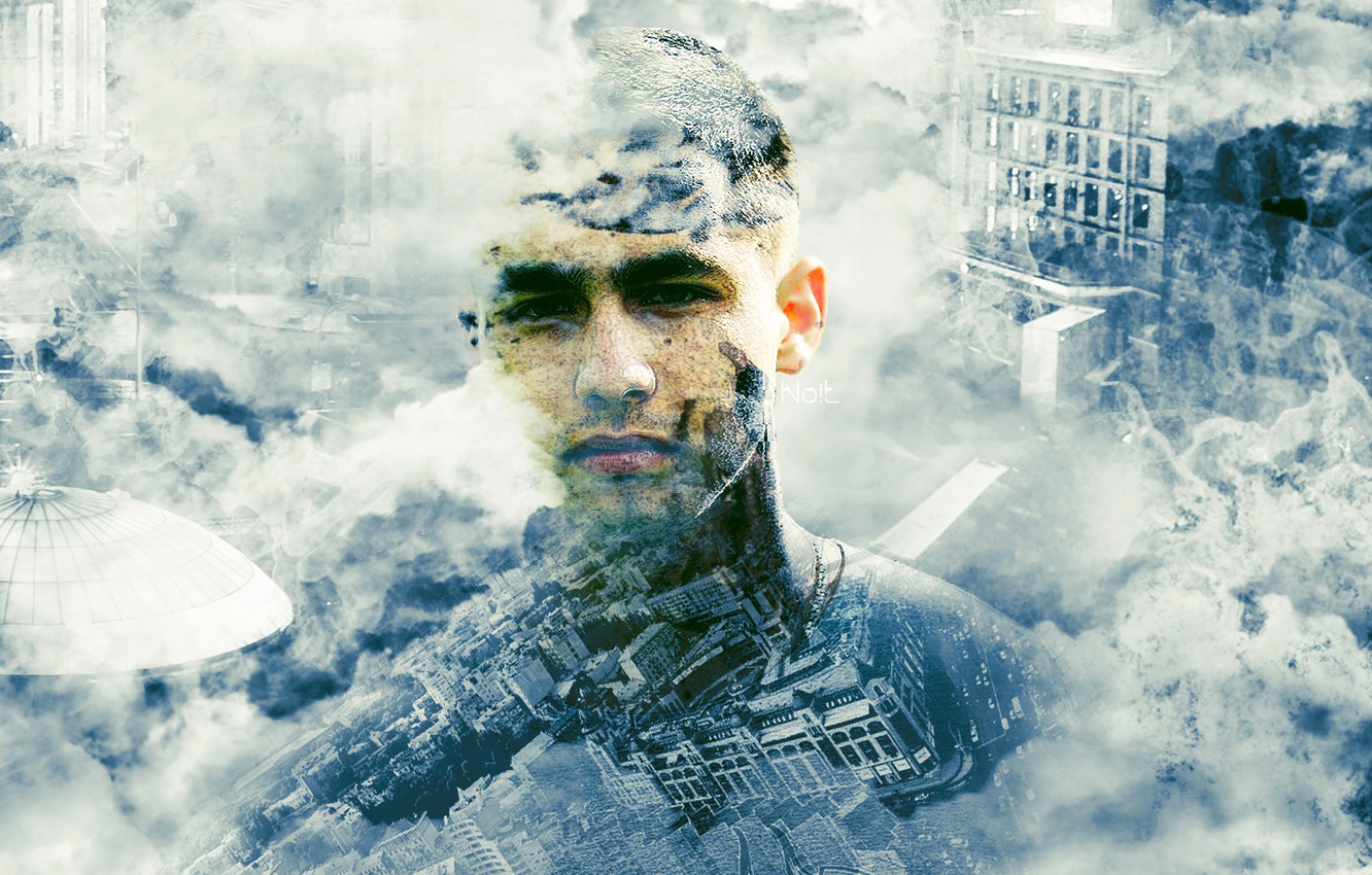 Photo wallpaper the sky, look, face, the city, photo, smoke, art, male, full face, Kiev, rendering