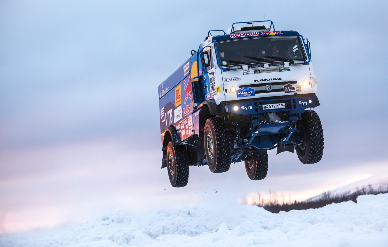 Photo wallpaper Winter, Snow, Truck, Master, Russia, Kamaz, Rally, KAMAZ, Power, RedBull, Master, The Arctic