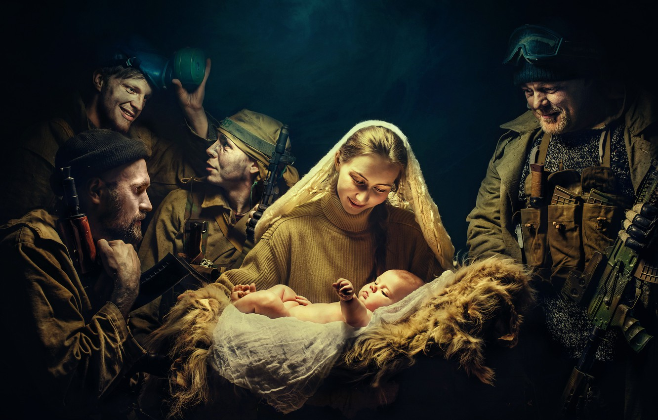 Photo wallpaper girl, weapons, soldiers, child, The birth of new life