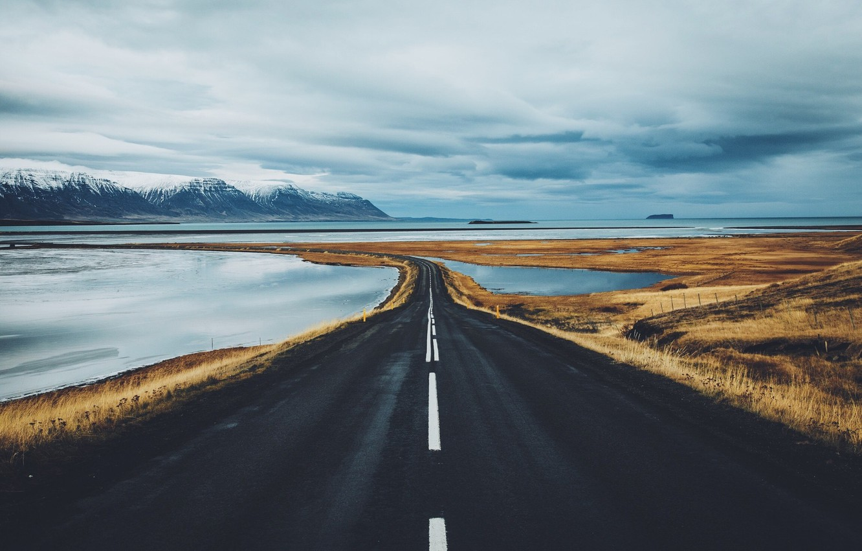 Photo wallpaper road, mountains, Iceland, lake, fjords