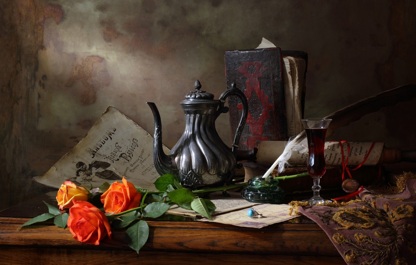 Photo wallpaper style, art, Still life with teapot and roses, Still life with tea and roses