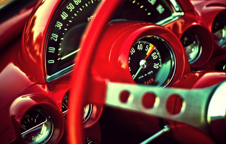 Photo wallpaper Corvette, classic, red interior, gauges