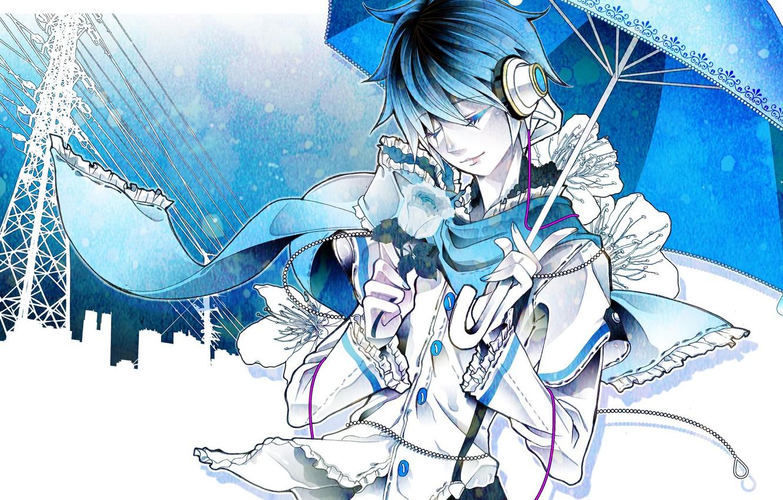 Photo wallpaper rose, umbrella, guy, Vocaloid, Vocaloid, Kaito