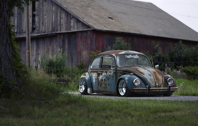 Photo wallpaper Volkswagen, Old, Beetle, Rusty