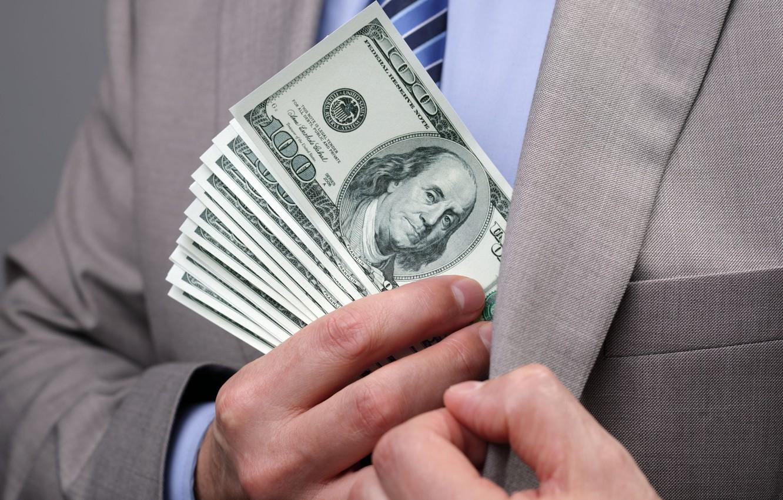 Photo wallpaper money, dollar, suit, Business, bribes