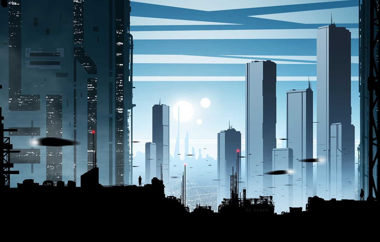 Photo wallpaper the city, future, people, silhouette, by kvacm