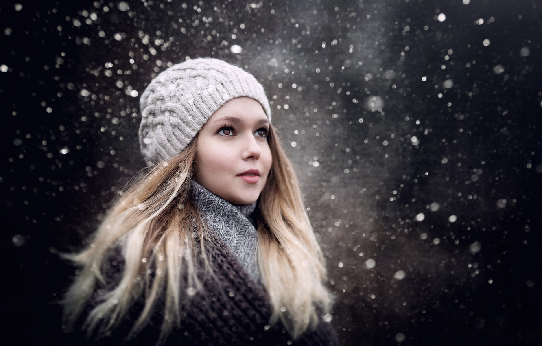 Photo wallpaper winter, look, girl, snow, girl, Sergey Piltnik