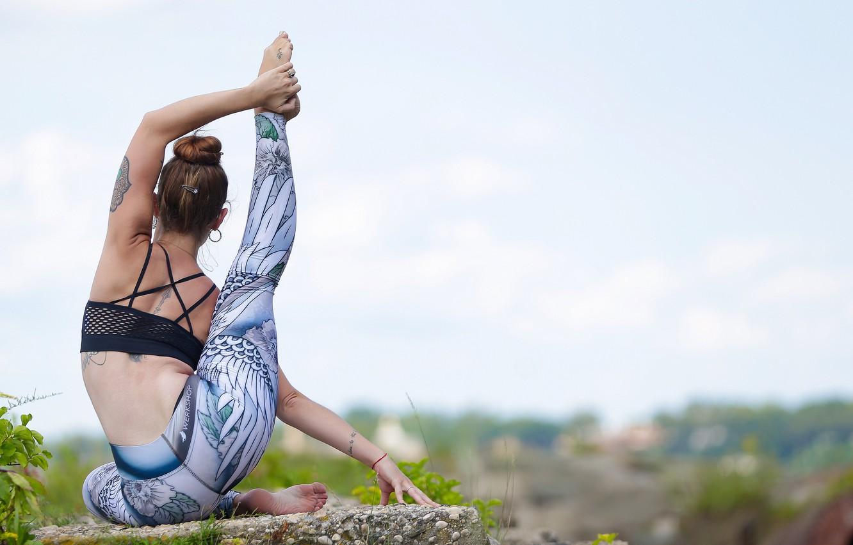Photo wallpaper girl, yoga, stretching, bokeh