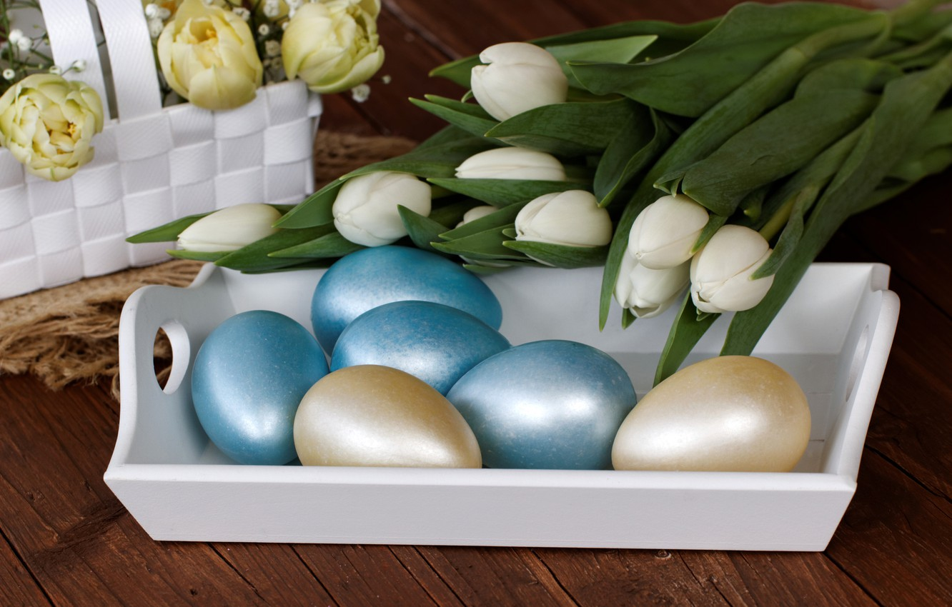 Photo wallpaper flowers, holiday, eggs, Easter, tulips