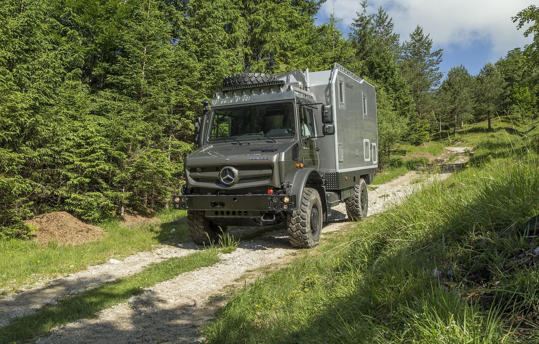 Photo wallpaper road, greens, forest, Mercedes-Benz, Unimog, U4023, Bimobil EX 435