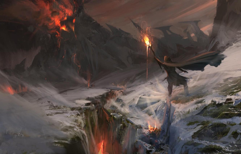 Wallpaper Fire Flame Fantasy Magic Art Mountain Snow