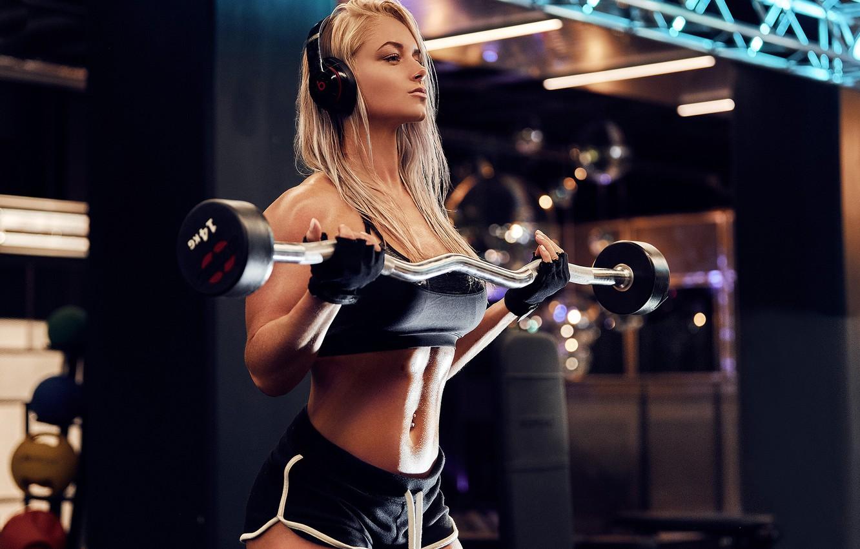 Photo wallpaper sport, girl, headphones, model, blonde, fitness, gloves, gym, fitness model, dumbbells, Workout, short shorts, barbell, …