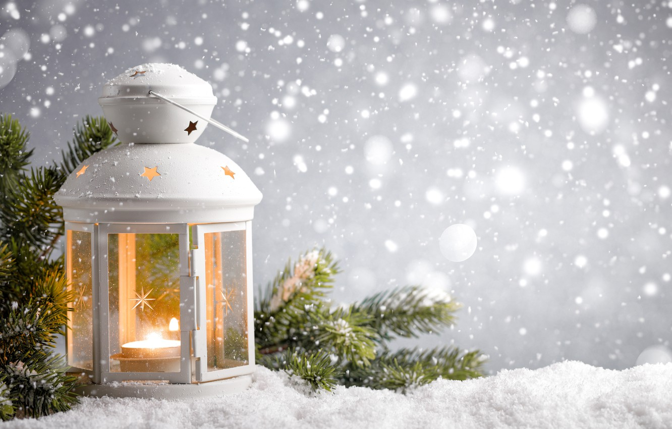 Photo wallpaper Nature, Winter, Candles, Snow, Branches, Lantern
