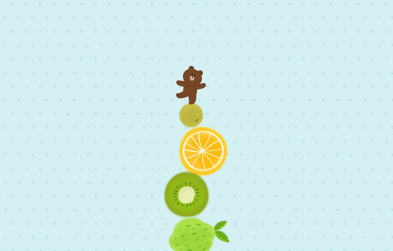 Photo wallpaper anime, art, bear, fruit, turret, Komodo