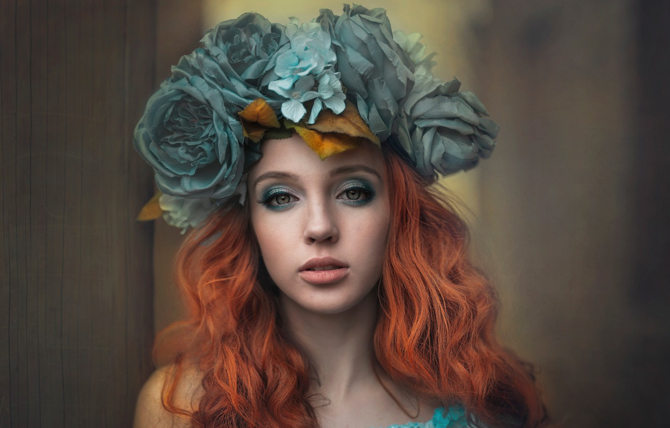 Photo wallpaper look, girl, flowers, face, portrait, makeup, red, wreath, redhead, Anna Buchek, Wiktoria