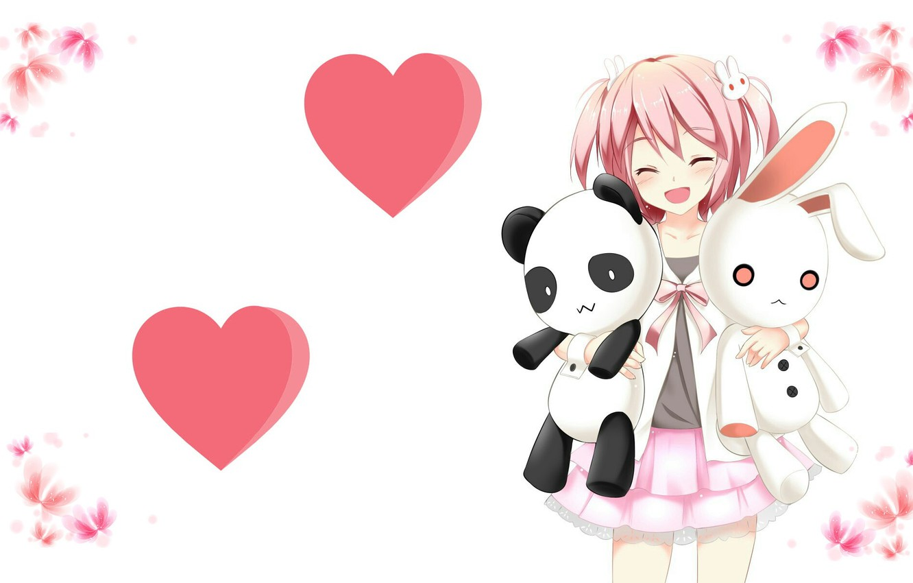 Wallpaper Mood Toys Anime Art Girl Hearts Bunny Panda