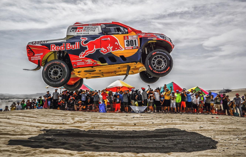 Photo wallpaper Sand, Auto, Sport, Machine, Speed, People, Race, Toyota, Hilux, Rally, Dakar, Dakar, SUV, Rally, The …