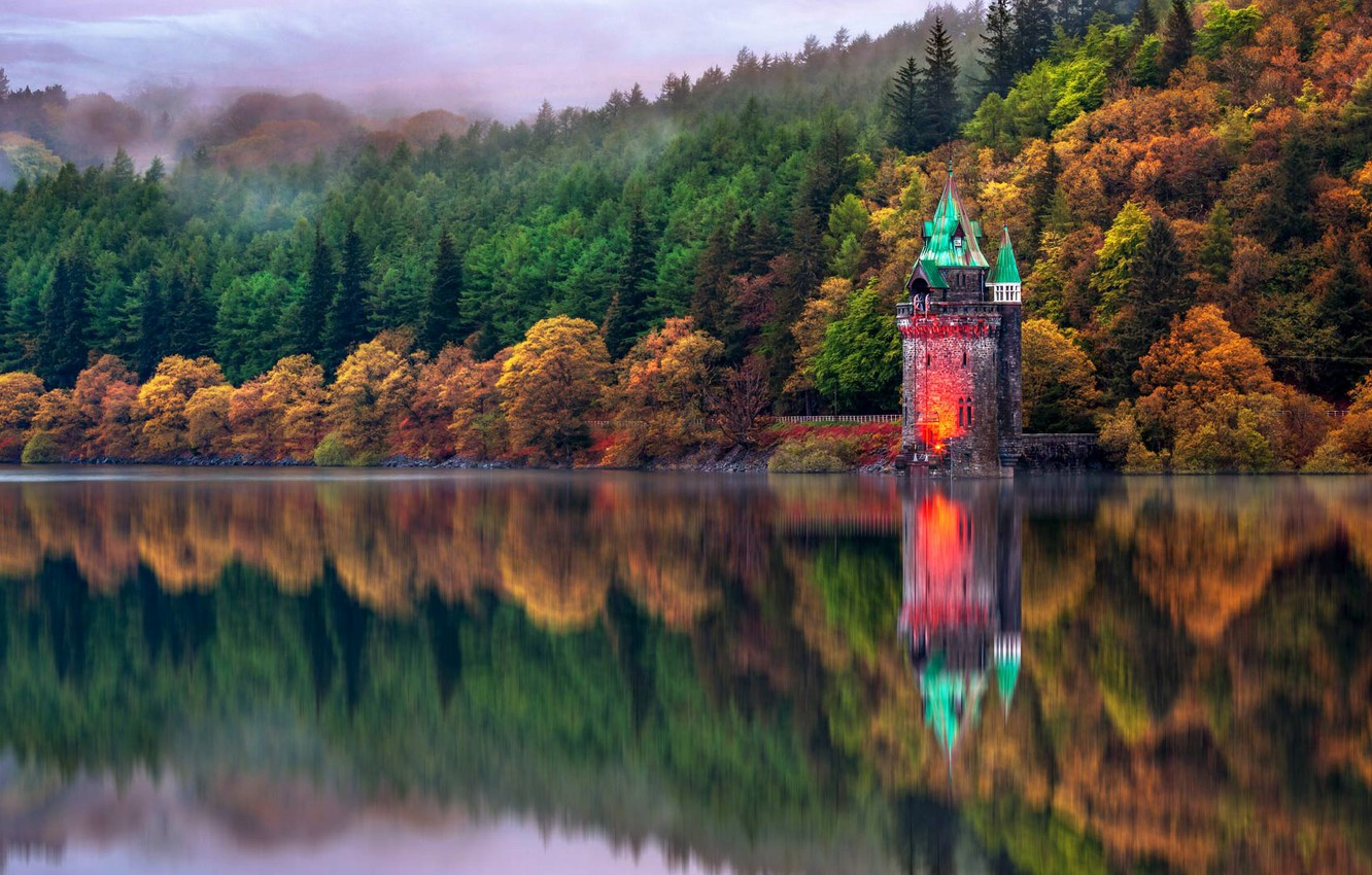 Photo wallpaper autumn, trees, reflection, Wales, lake Vyrnwy, the drain tower