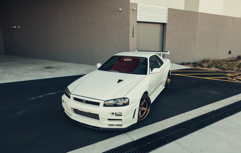 Photo wallpaper GTR, Nissan, Classic, White, R34, Sight