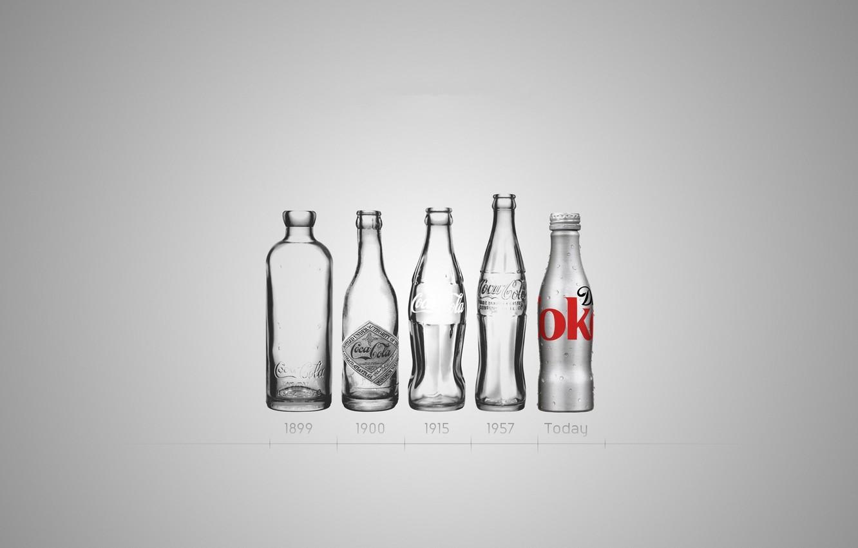 Photo wallpaper glass, bottle, Coca-Cola, evolution, Coca-Cola