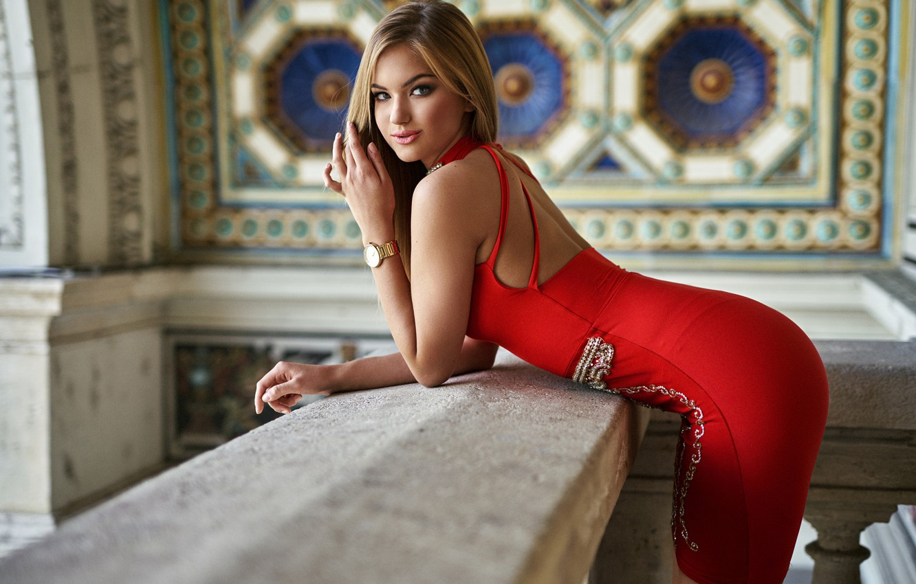 Photo wallpaper look, girl, makeup, figure, dress, hairstyle, blonde, beautiful, in red, the room, Kira, posing, the …