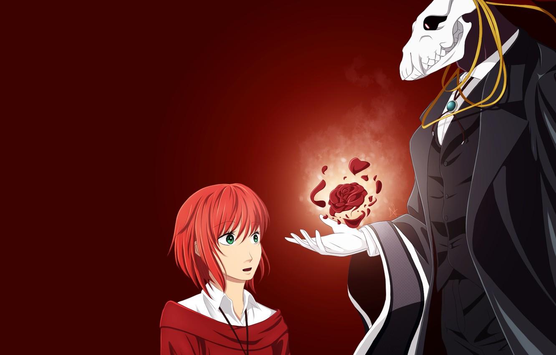 Wallpaper Girl Rose Anime Art Fascinator Red Background Mahou