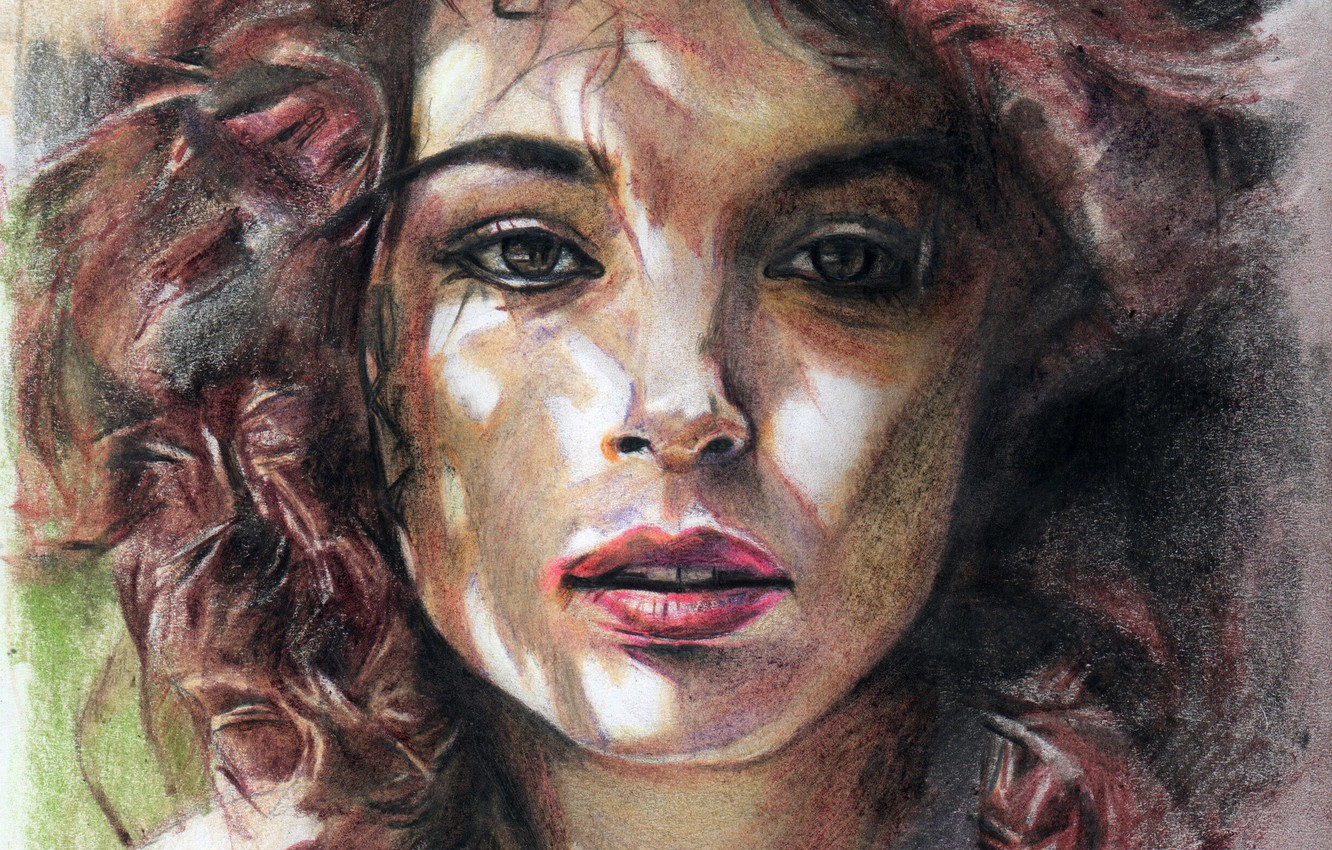 Photo wallpaper face, figure, strokes, lips, pastel, brown hair, portrait of a girl, curly hair, light and …