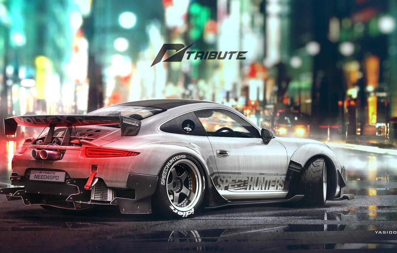 Photo wallpaper Auto, Figure, White, 911, Porsche, Machine, Car, Car, Art, Art, Porsche 911, Rendering, Tribute, Yasid …