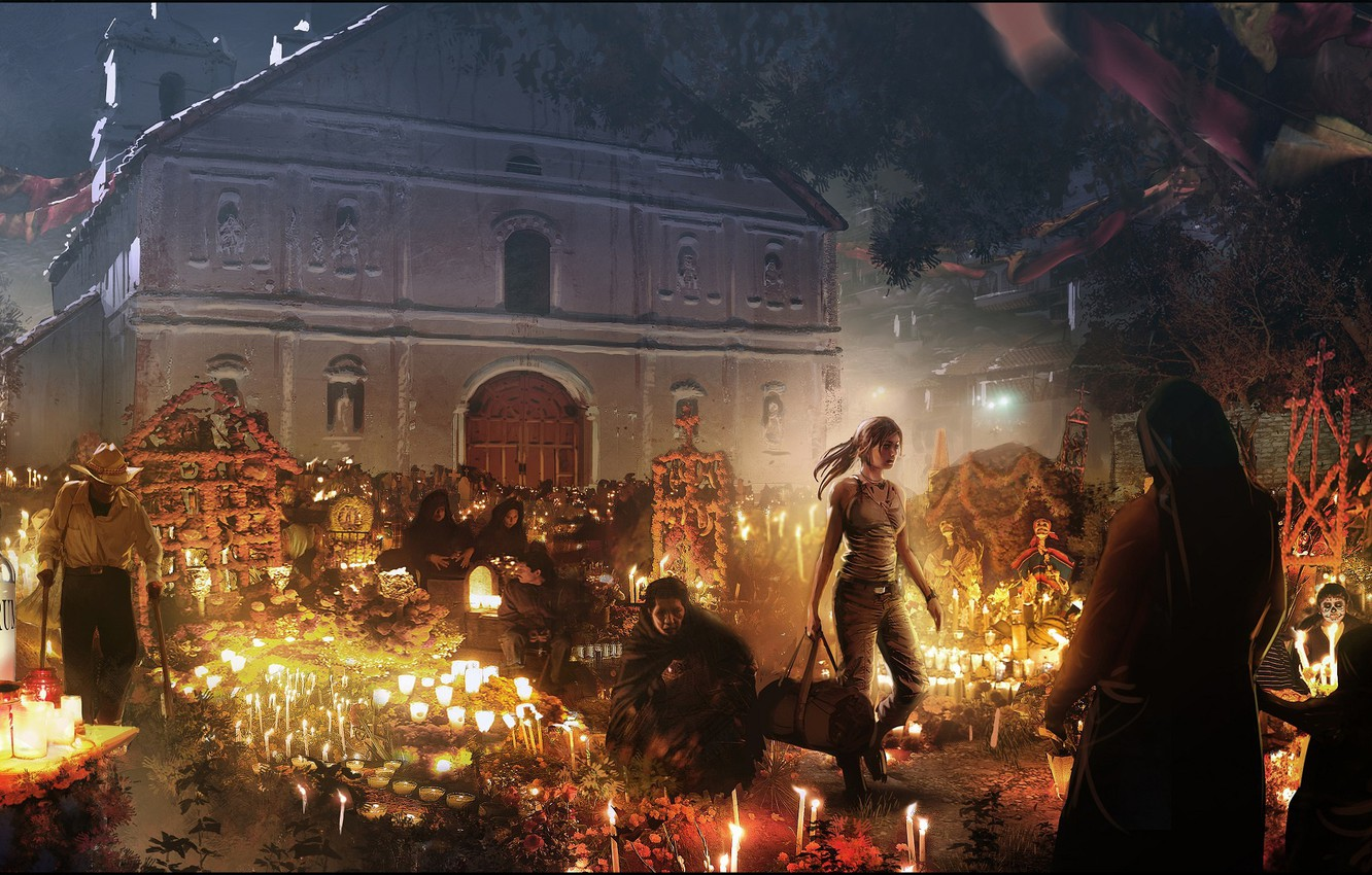 Photo wallpaper girl, night, people, the building, Shadow of the Tomb Raider