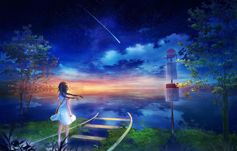 Photo wallpaper sea, trees, rails, horizon, comet, girl, road sign, starry sky