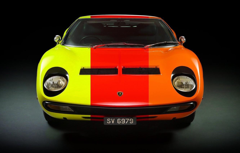 Photo wallpaper Color, Auto, Lamborghini, Machine, Classic, 1971, Lights, Car, Supercar, Lamborghini Miura, P400, Lamborghini Miura P400, …