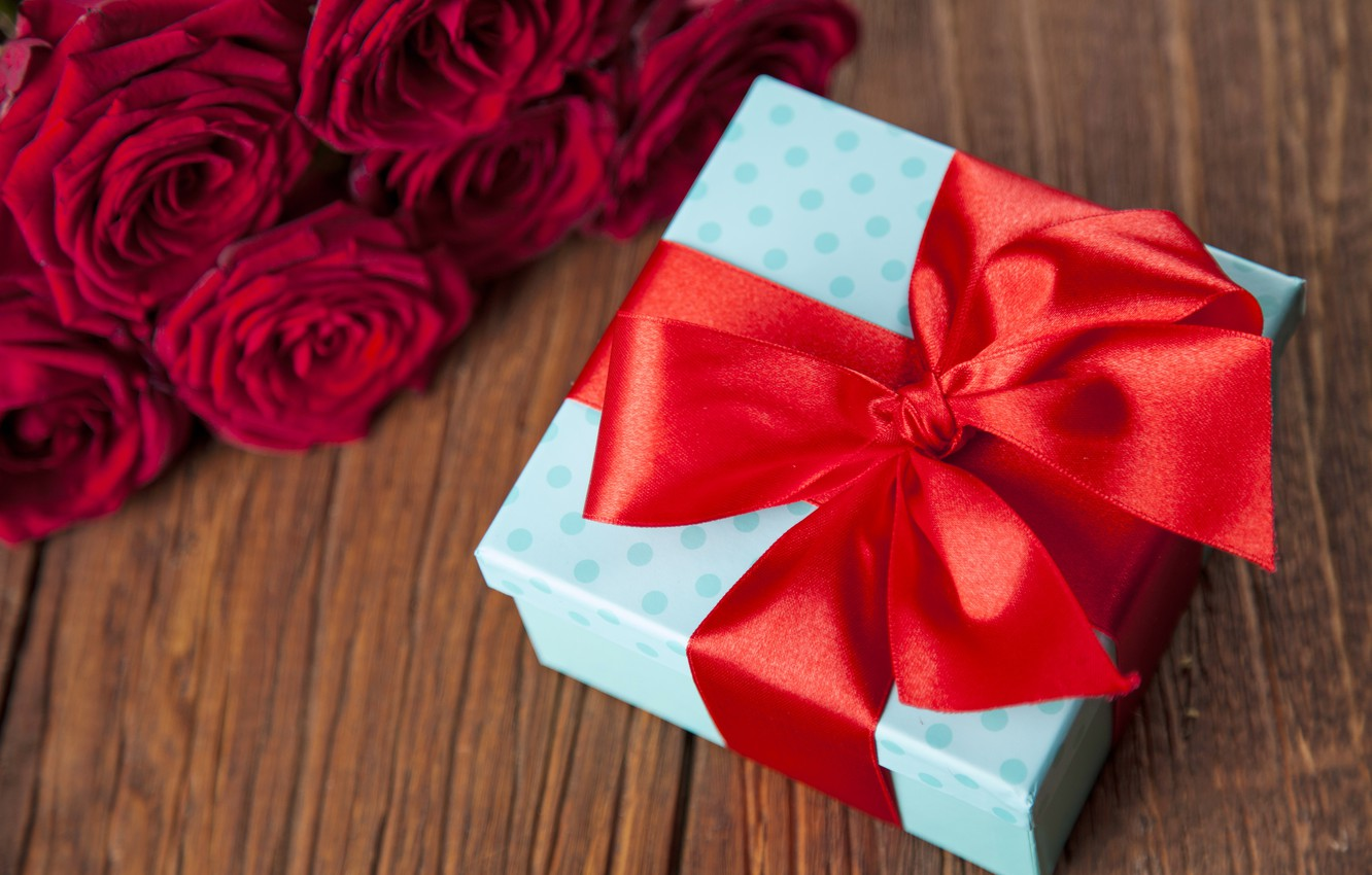 Photo wallpaper red, love, romantic, hearts, gift, roses, valentine`s day