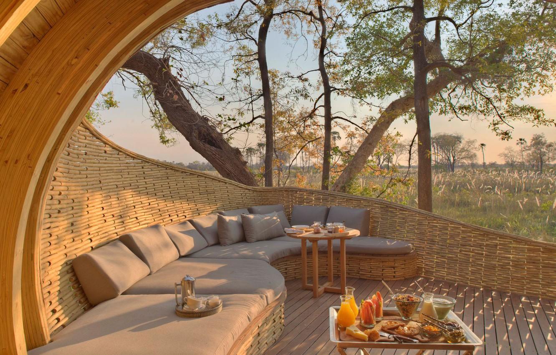 Photo wallpaper luxury, Botswana, overlooking the Okavango delta, guest area, Sandie Okavango Safari Lodge, open lodge