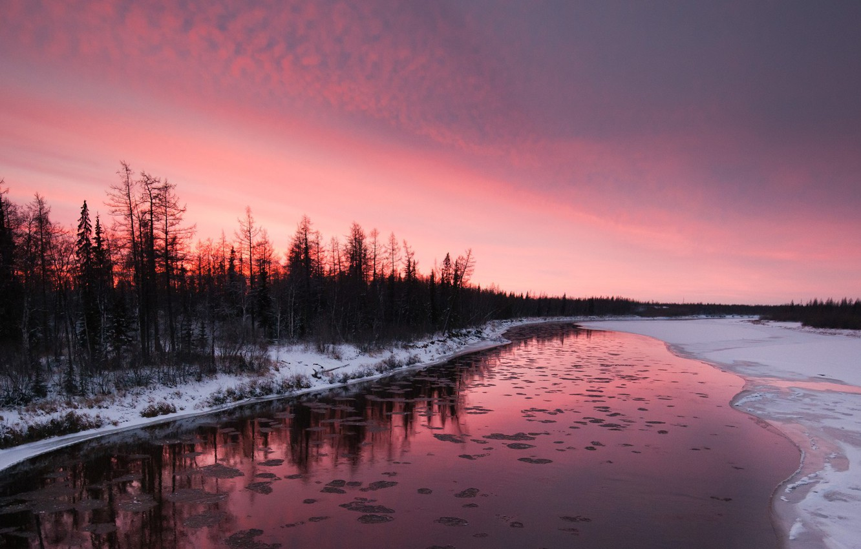 Photo wallpaper winter, snow, trees, sunset, river