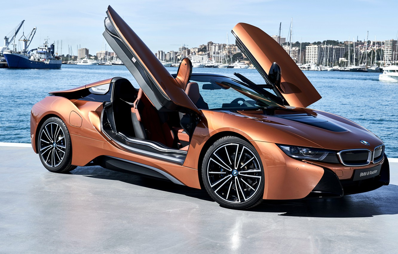 Photo wallpaper Roadster, side view, harbour, 2018, BMW i8