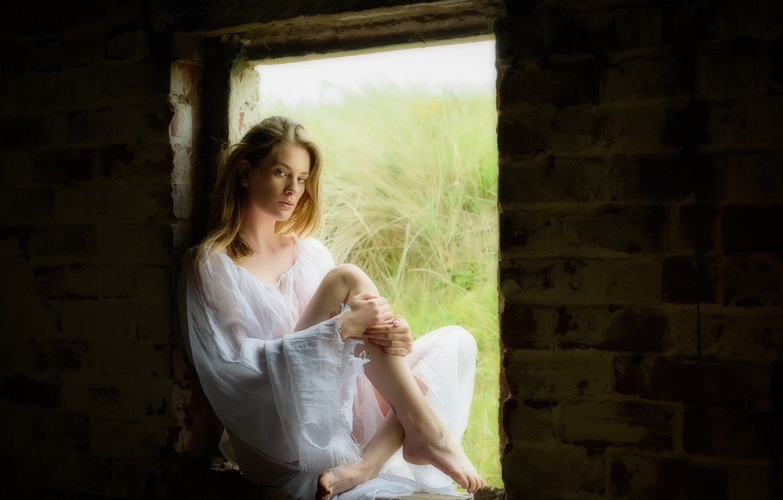Photo wallpaper girl, pose, window