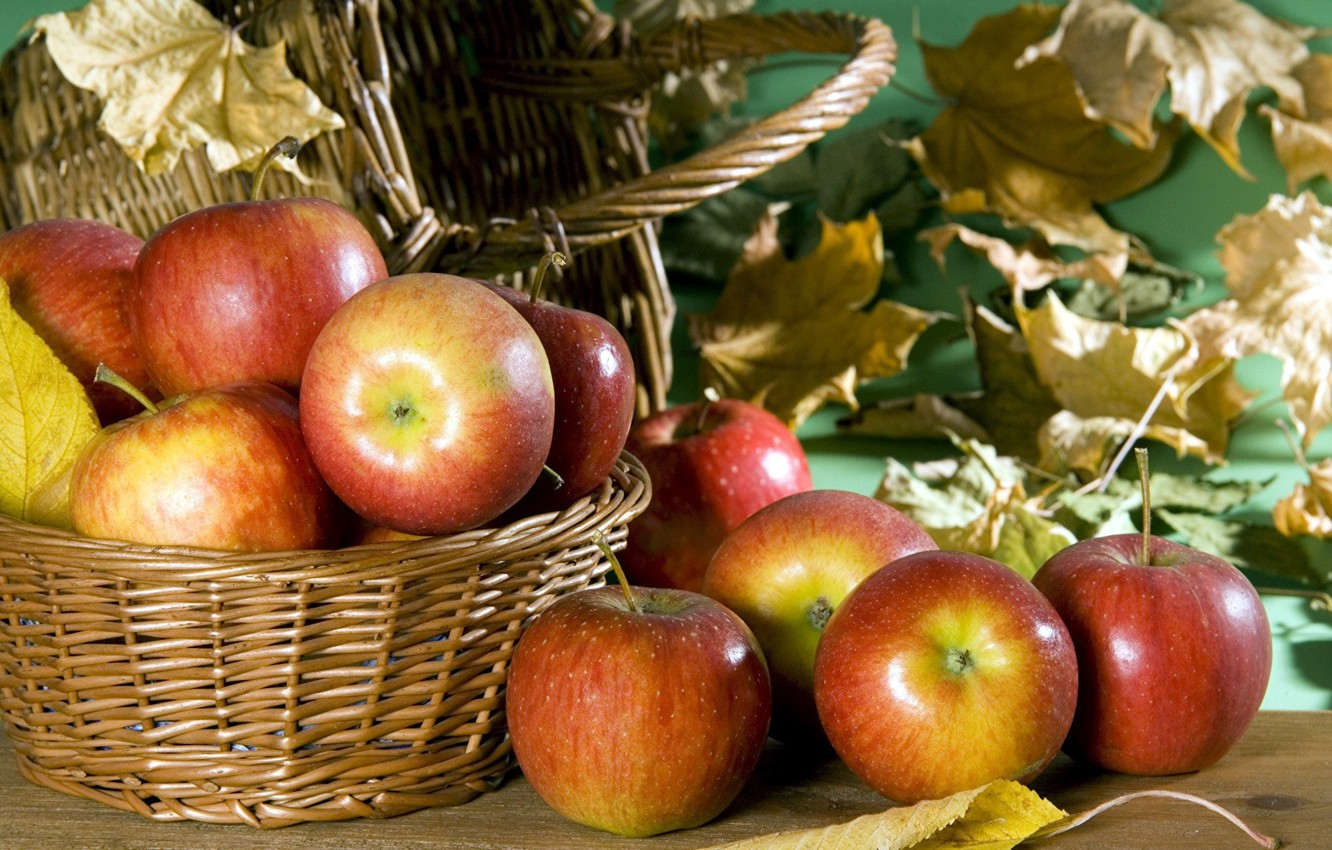 Photo wallpaper autumn, red, Apples