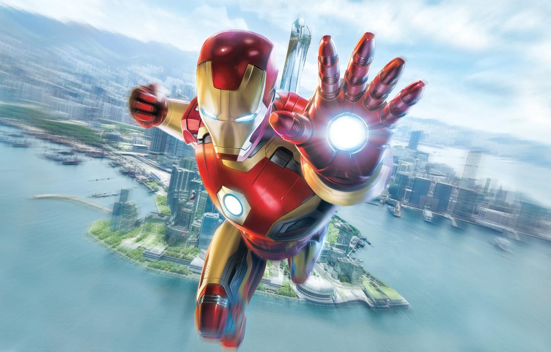 Photo wallpaper sea, the sky, the city, fiction, height, art, costume, Iron man, Iron Man, Marvel, comic, …