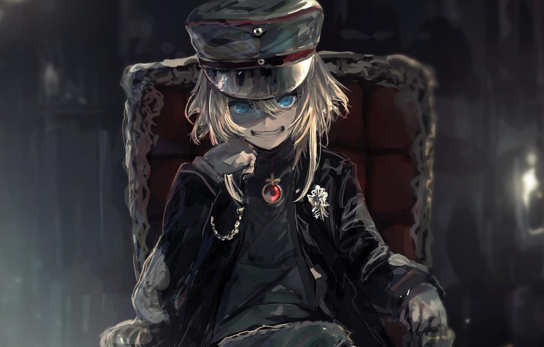 Photo wallpaper kawaii, girl, blood, soldier, military, war, anime, chair, blonde, asian, cute, manga, oriental, asiatic, powerful, …