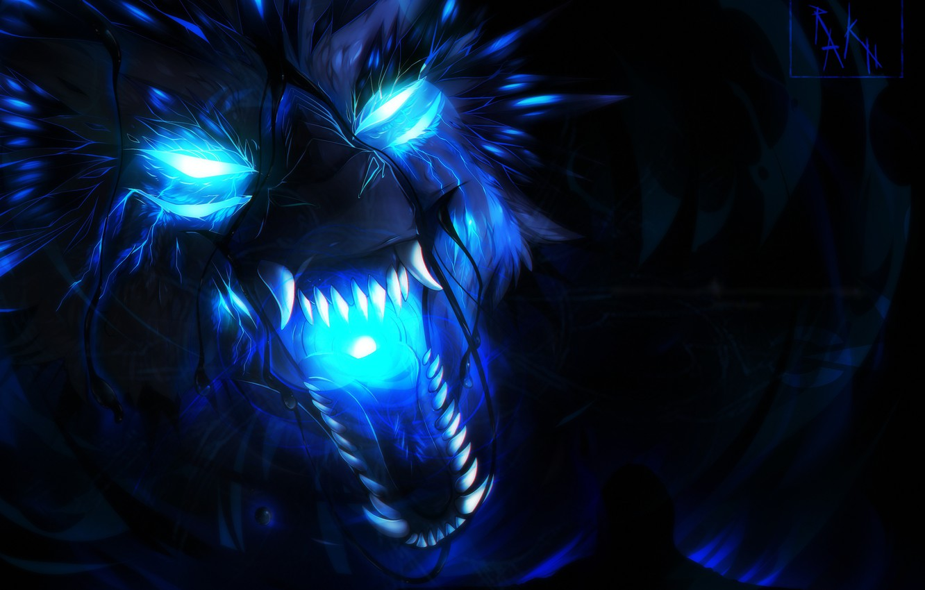 Photo wallpaper face, wolf, predator, mouth, fangs, evil, horror, blue flame, mater