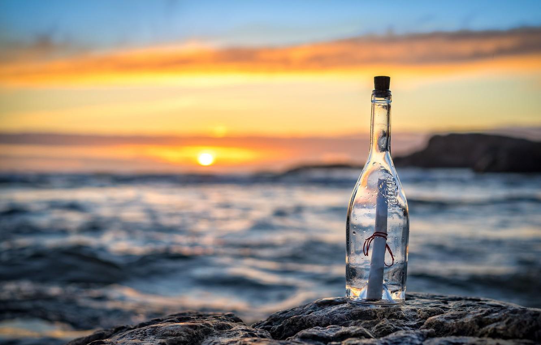 Photo wallpaper sea, letter, sunset, bottle, message