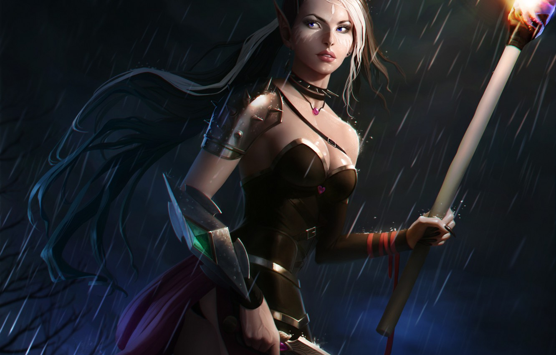Photo wallpaper girl, night, fiction, rain, elf, art, torch, dagger, antalya