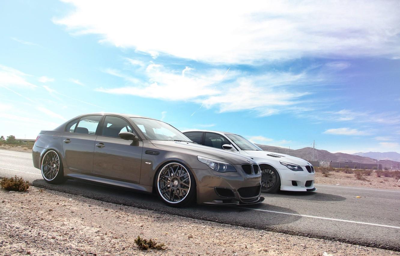 Photo wallpaper BMW, White, E60, Brown