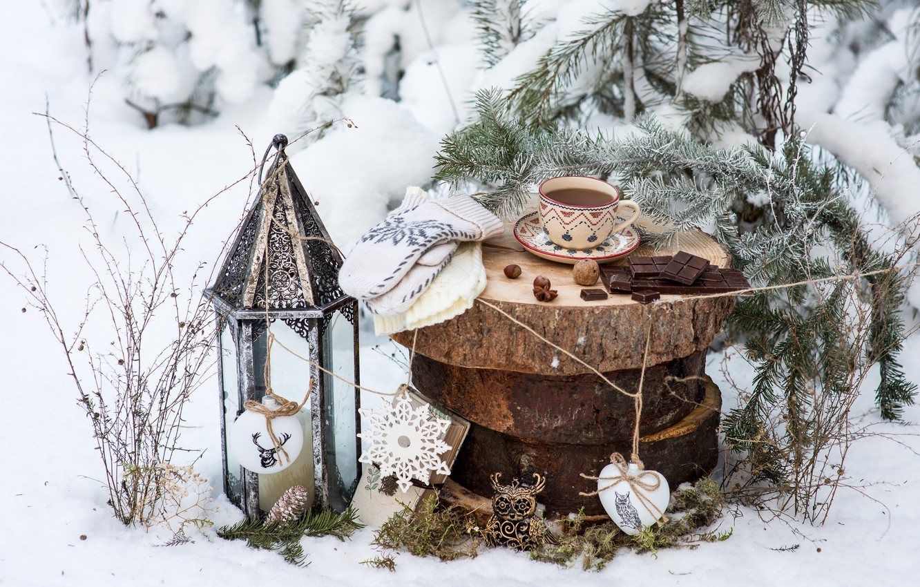 Photo wallpaper winter, snow, decoration, tea, toys, tree, chocolate, New Year, Christmas, Cup, happy, Christmas, vintage, winter, …